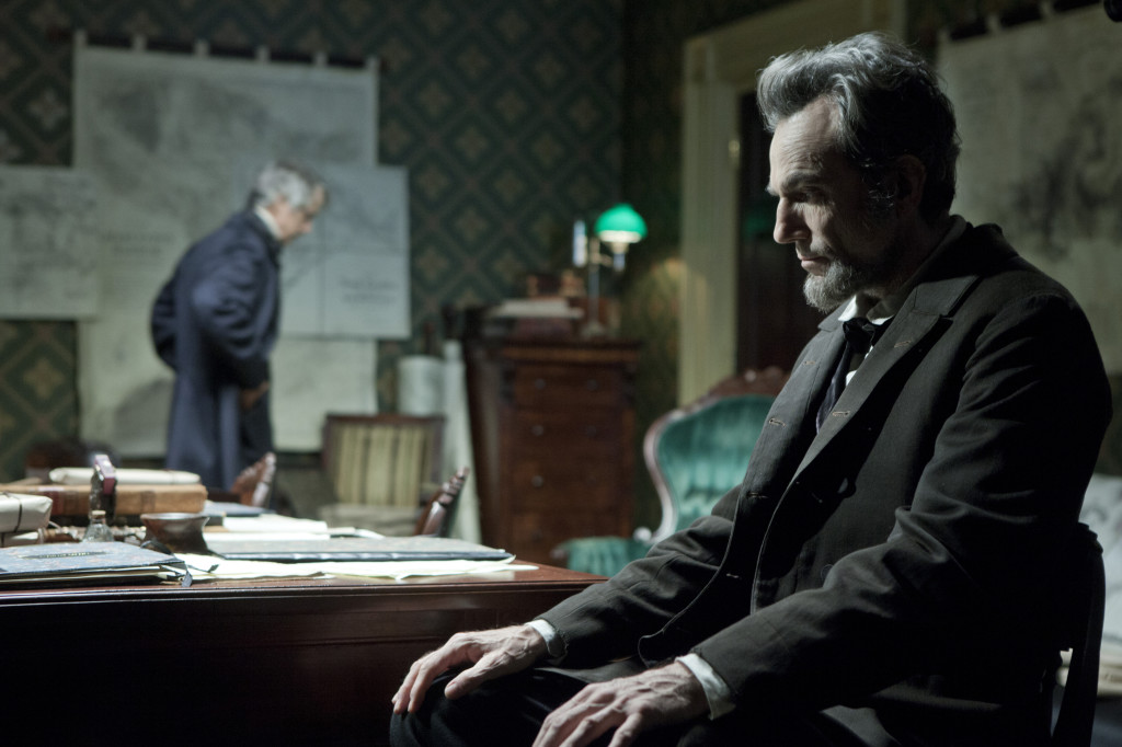 """President Lincoln (Daniel Day-Lewis, right) confers with his Secretary of State, William Seward (David Strathairn) in this scene from director Steven Spielberg's drama """"Lincoln."""" ©Dreamworks II Distribution Co/20th Century Fox. CR: David James."""
