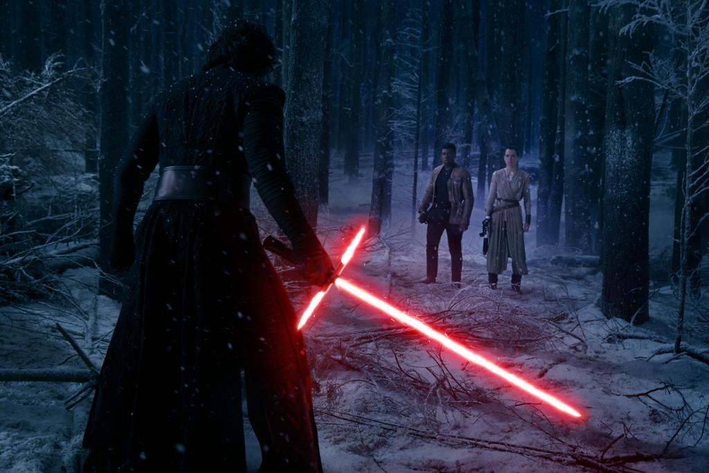 Star Wars: The Force Awakens..L to R: Kylo Ren (Adam Driver), Finn (John Boyega), and Rey (Daisy Ridley)..Ph: David James..? 2015 Lucasfilm Ltd. & TM. All Right Reserved.