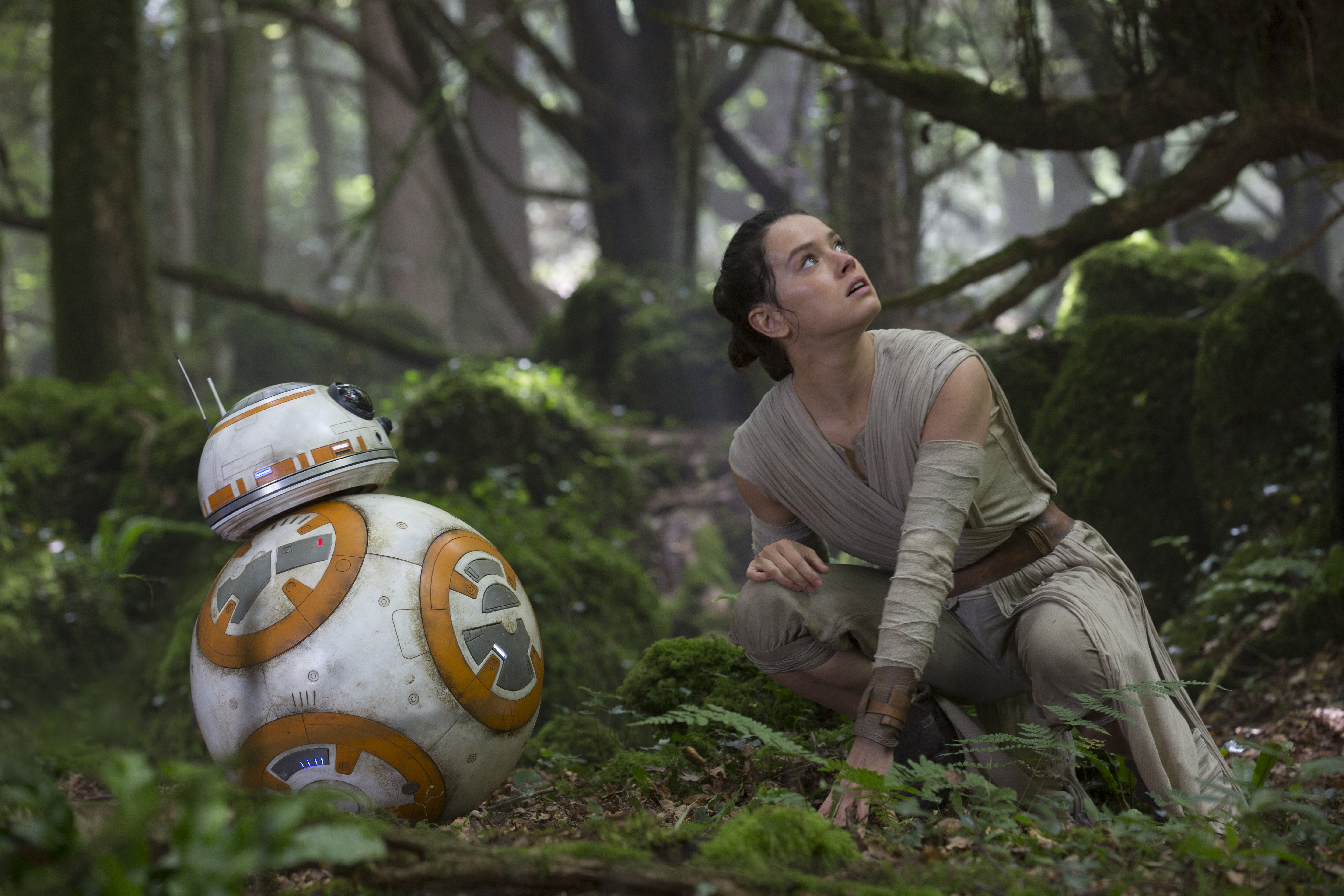 Star Wars: The Force Awakens..L to R: BB-8 and Rey (Daisy Ridley)..Ph: David James..? 2015 Lucasfilm Ltd. & TM. All Right Reserved.