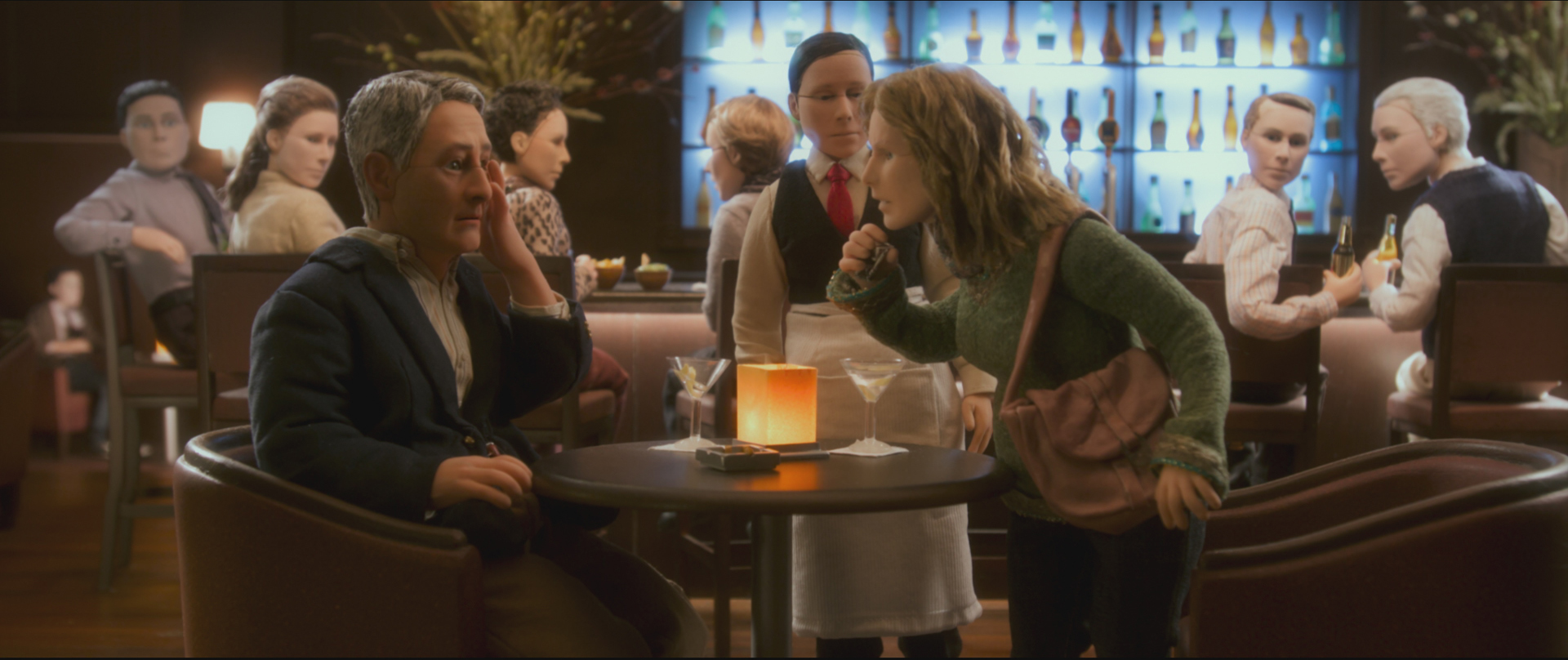 (L-R) David Thewlis voices Michael Stone and Tom Noonan voices Bella Amorosi in the animated stop-motion film, ANOMALISA, by Paramount Pictures