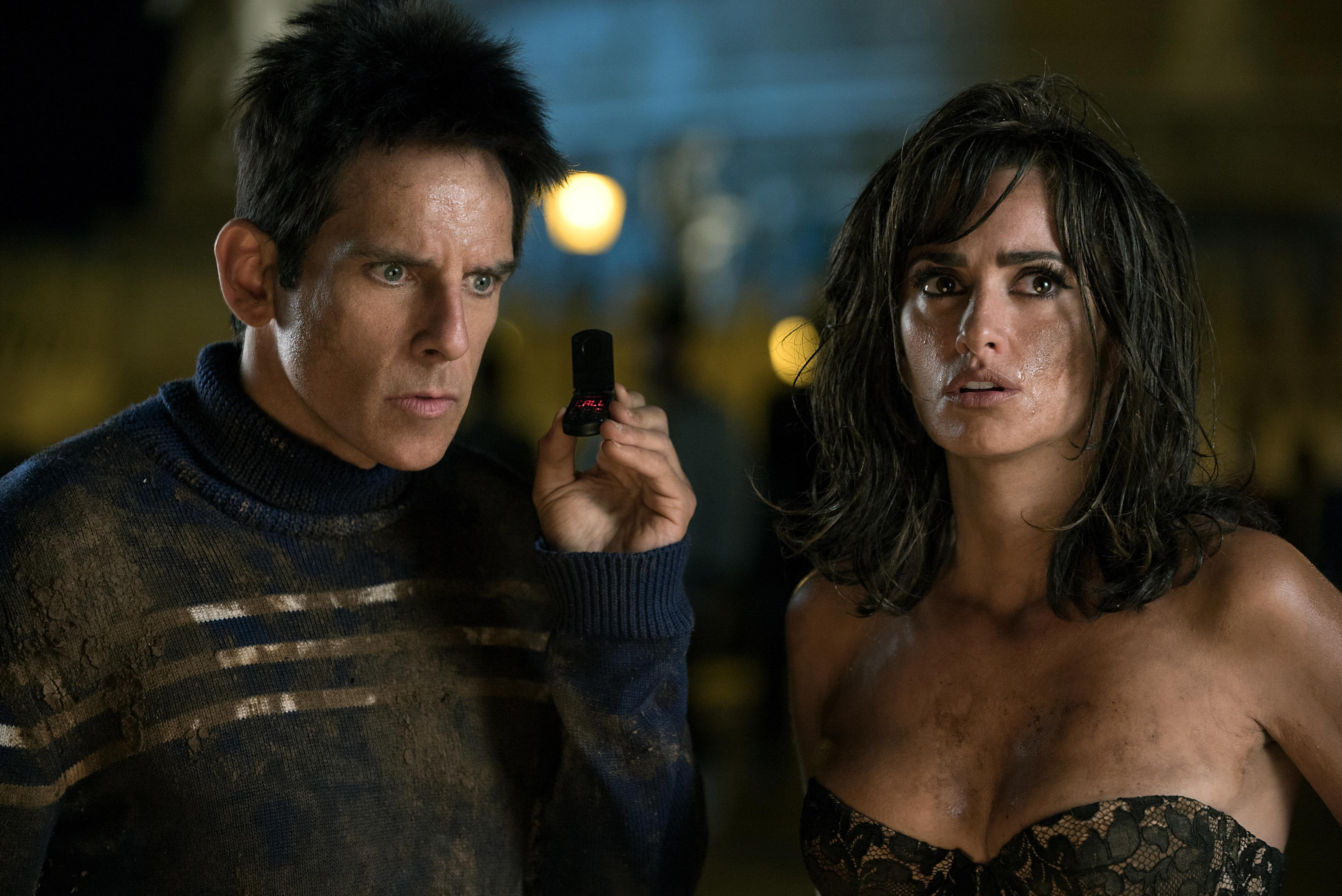 Left to right: Ben Stiller plays Derek Zoolander and Penelope Cruz plays Valentina Valencia in Zoolander No. 2 from Paramount Pictures.